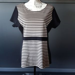 Dress barn tan and black color block stripped blou